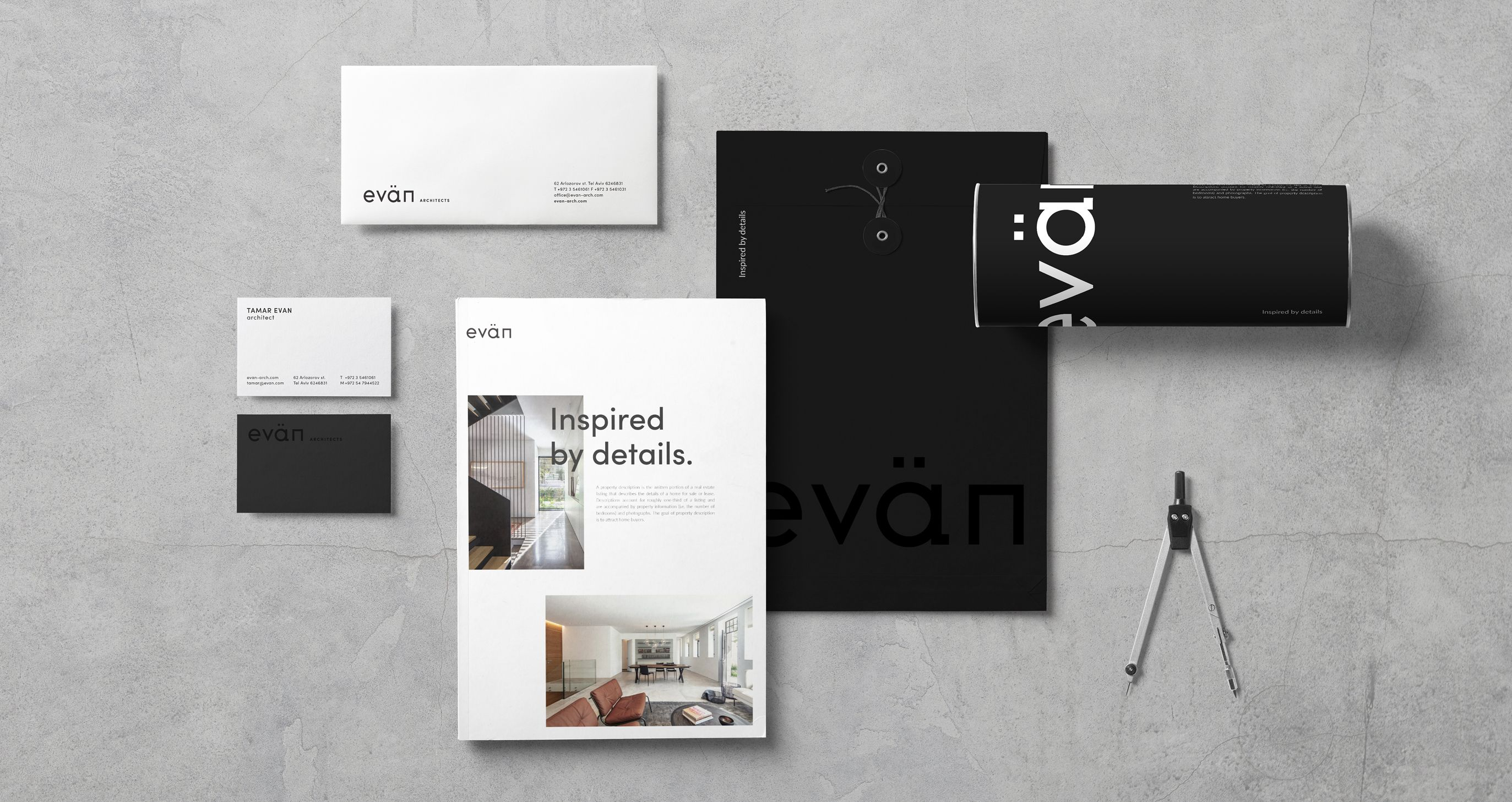 Evän Architects branding collateral