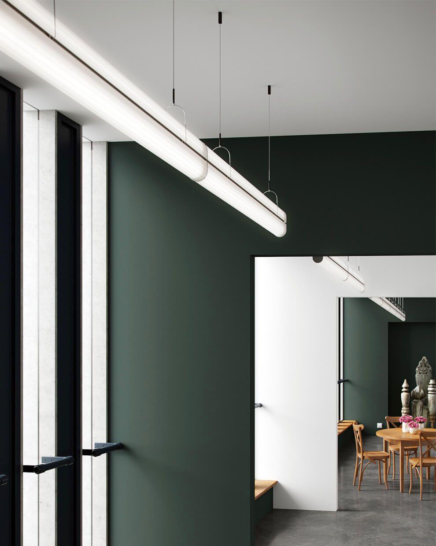 Virtual Showroom. Queue pendant multi-run, black anodized aluminum