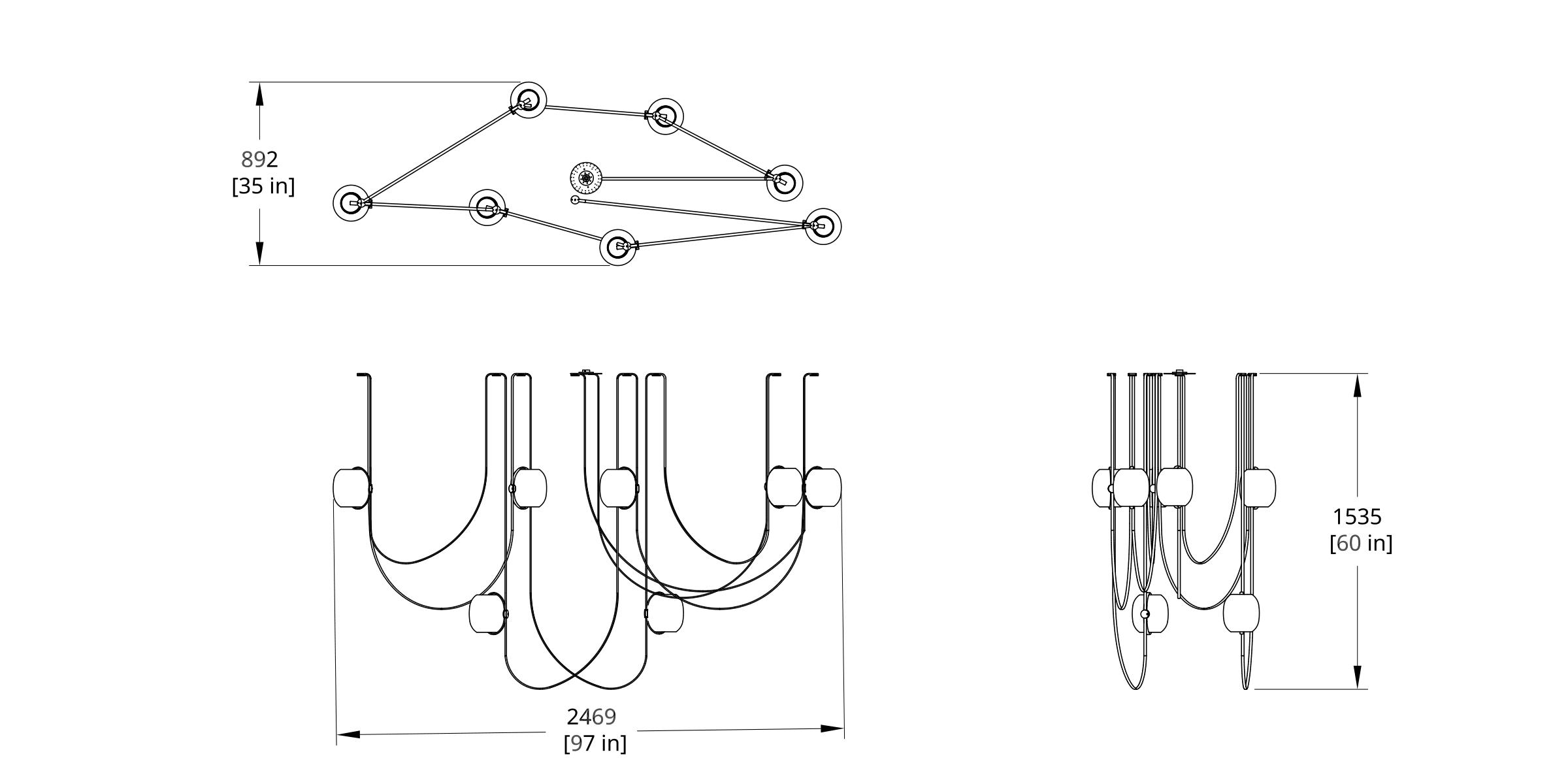 VS-7 Vitis Chandelier (Condensed) Dimension