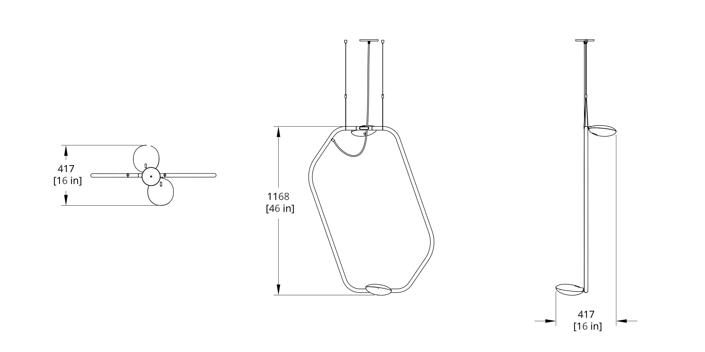 PD-2 Palindrome Chandelier (Vertical) Dimension