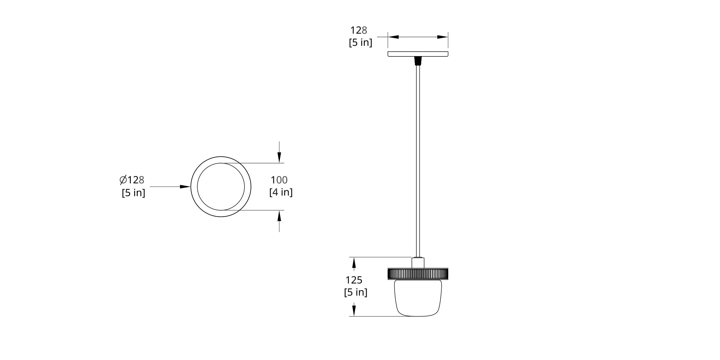 HP-0-A Hoist Pendant Bare Small Diffuser Dimension