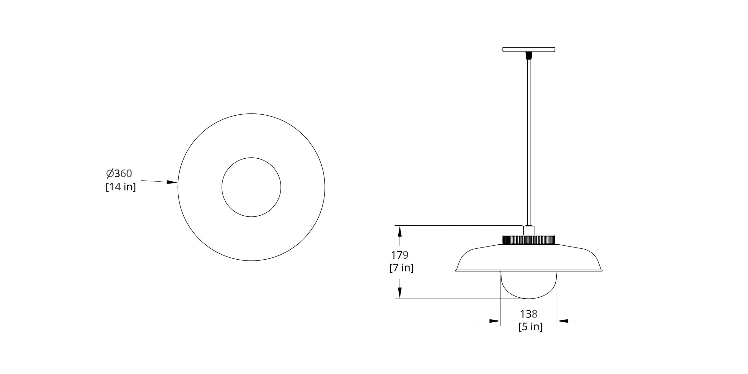 HP-8-B Hoist Pendant Large Diffuser Dimension