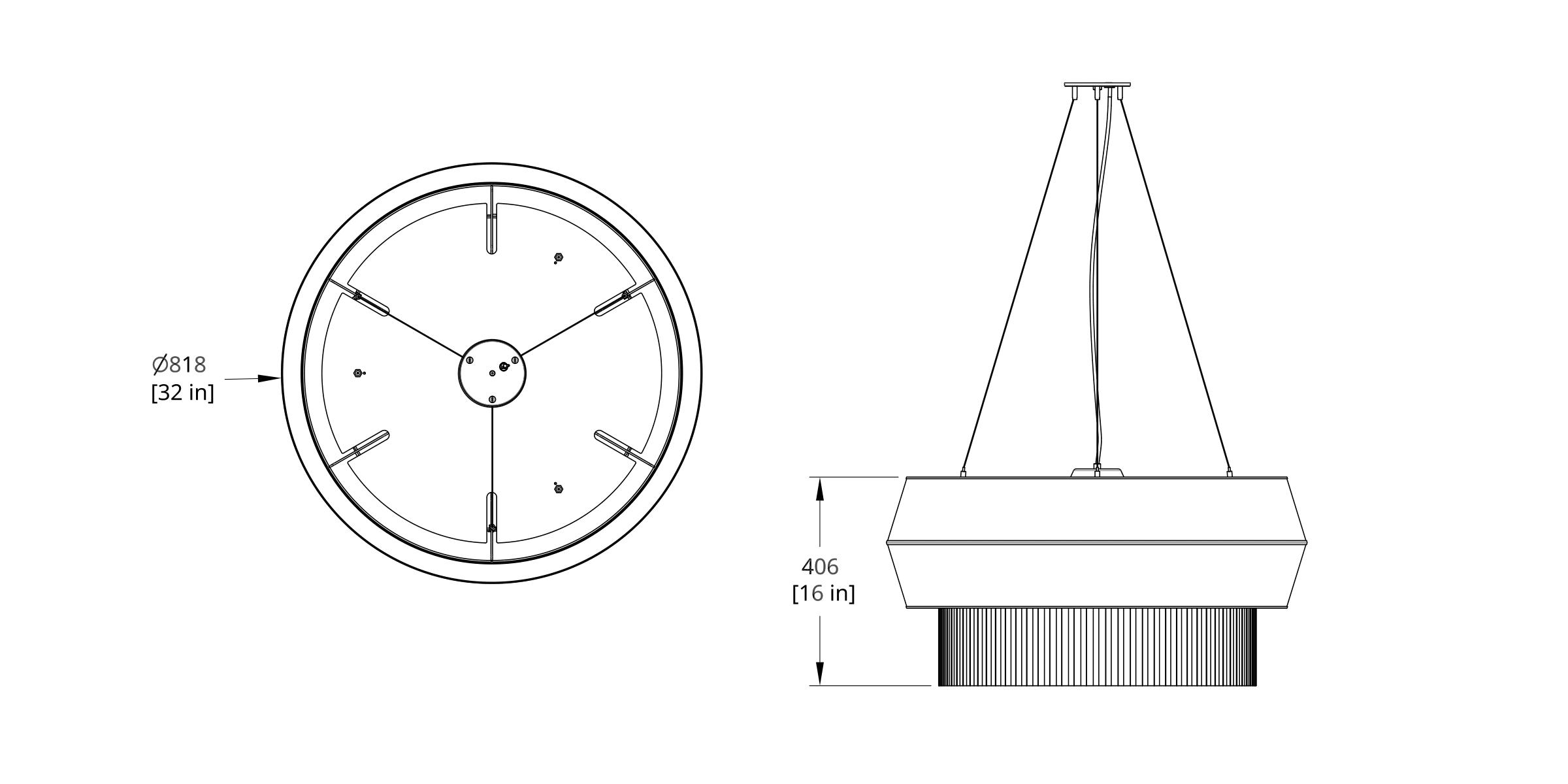 DEL-IV Delta Pendant Dimension