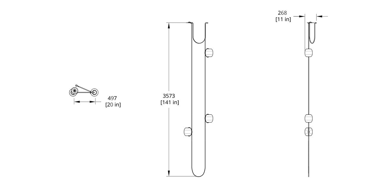 VS-3 Vitis Chandelier (Extra Long) Dimension