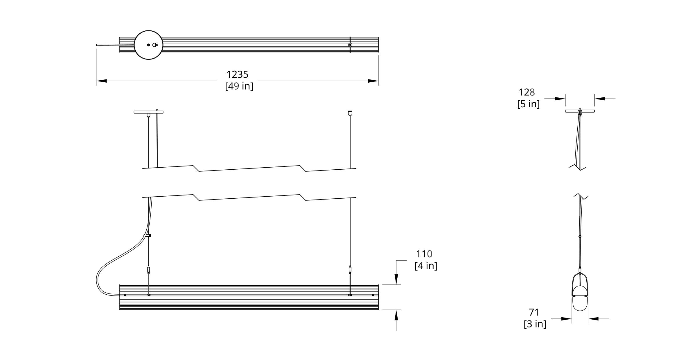 QP-44 Queue Pendant Dimension