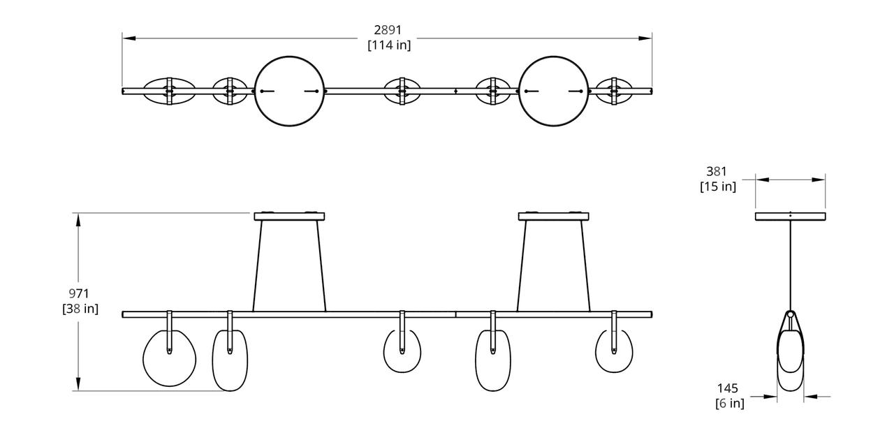 "GC-114-20G Gala 114"" Chandelier Dimension"