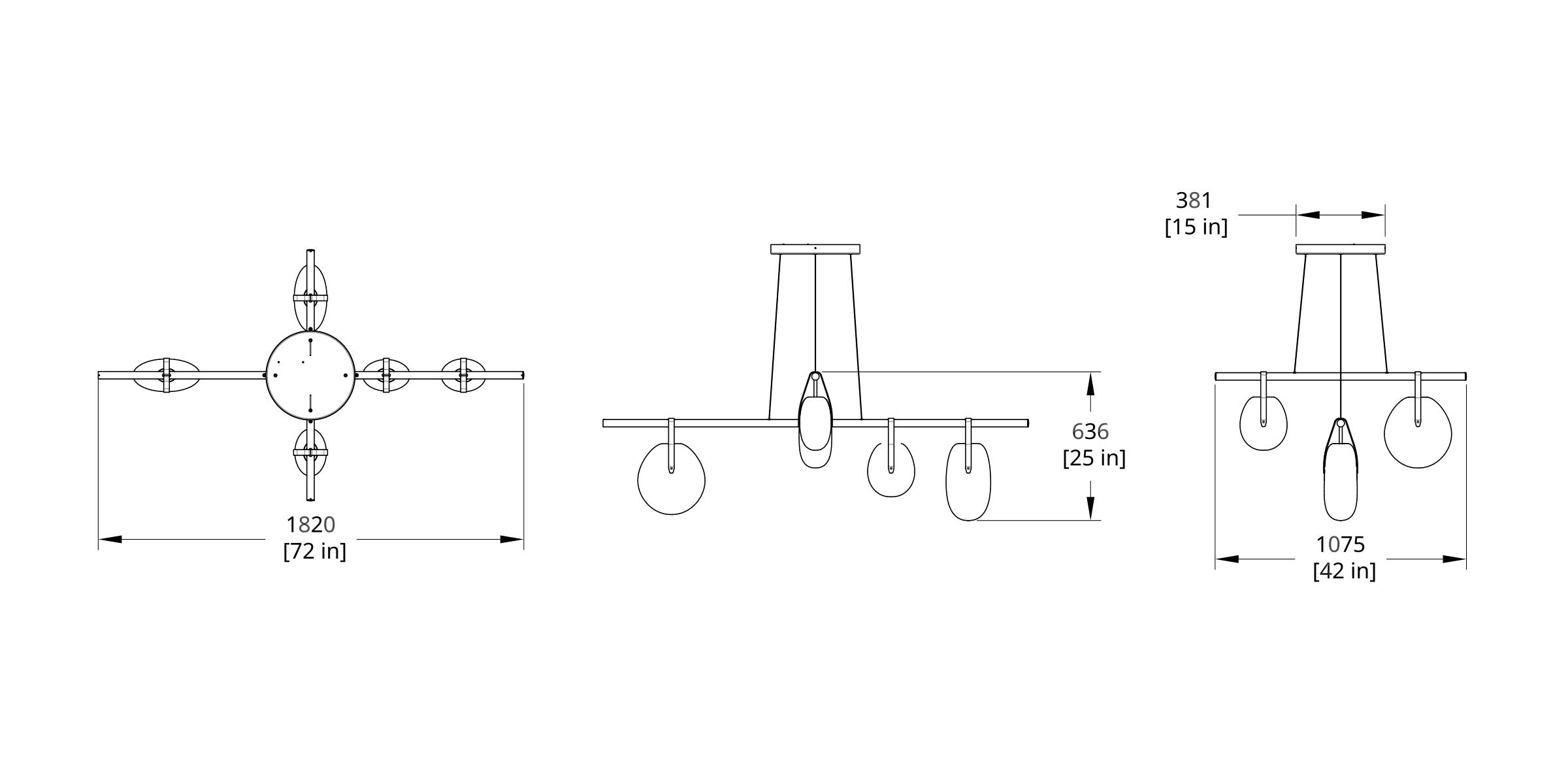GC-7242X Gala Cross Chandelier Dimension (Feature)