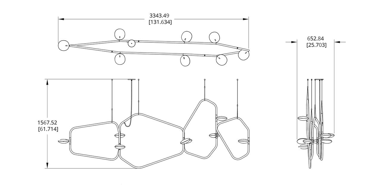 PD-8 Palindrome Chandelier (Line) Dimension