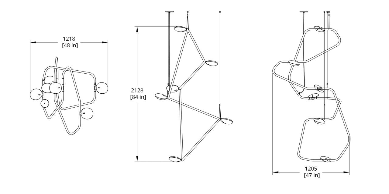 PD-6 Palindrome Chandelier (Vertical) Dimension