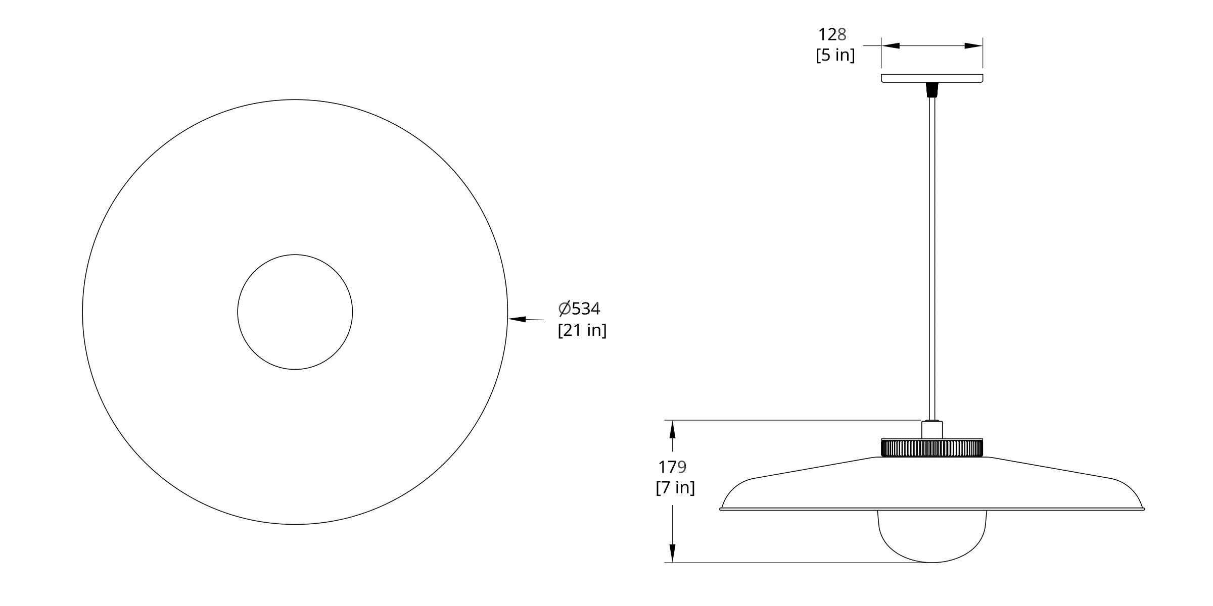 HP-21-B Hoist Pendant Large Diffuser Dimension