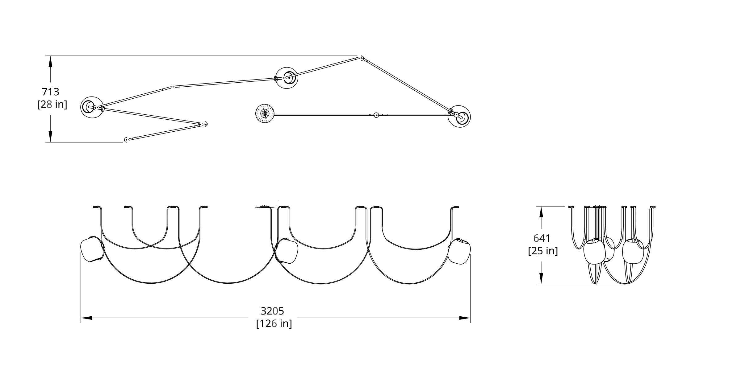 VS-3 Vitis Chandelier (Condensed High) Dimension