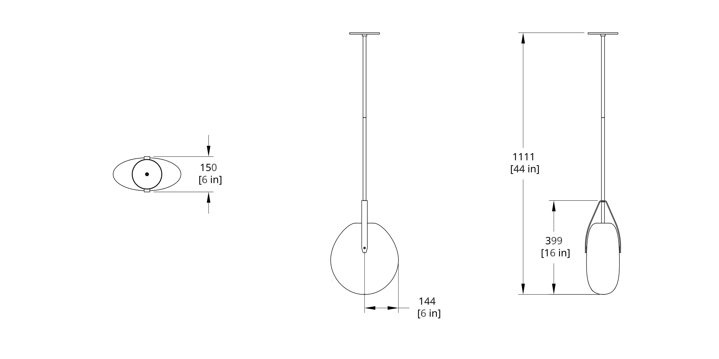 GP-3010 Gala Pendant Dimension