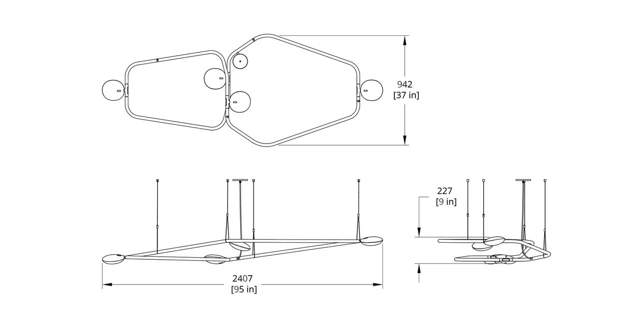 PD-4 Palindrome Chandelier (Flat) Dimension