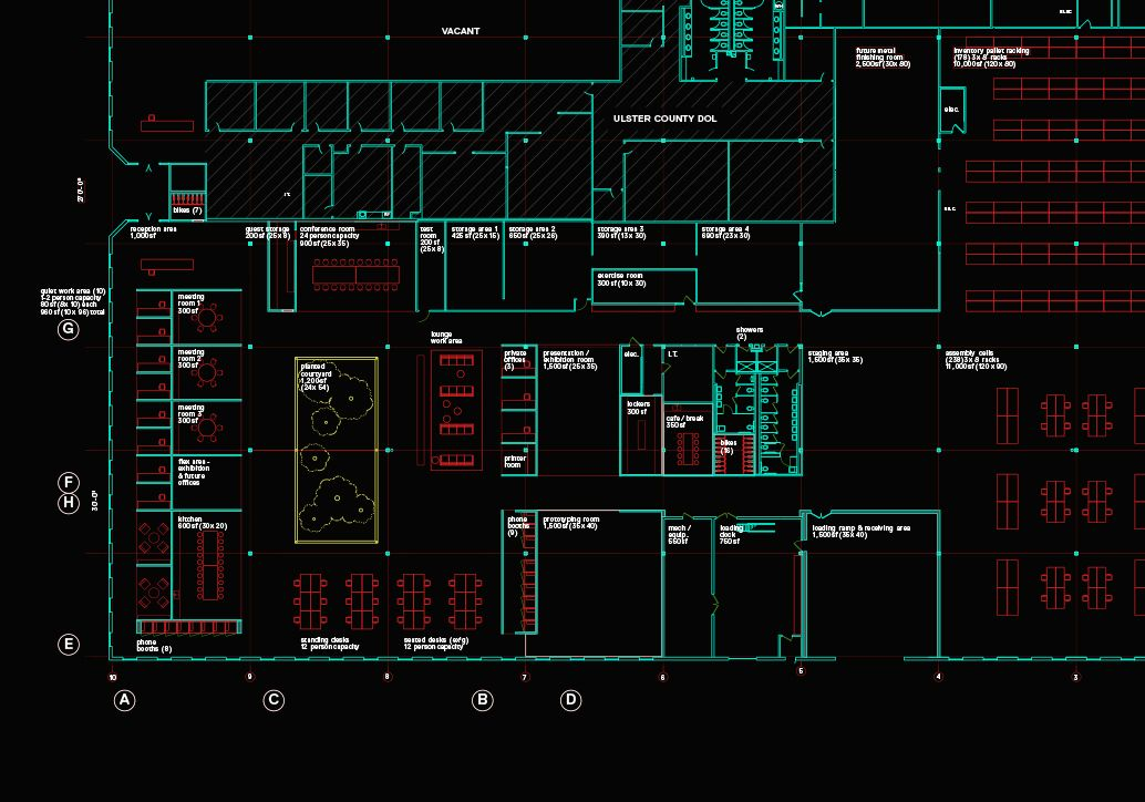 Schematic floor plan for the new space