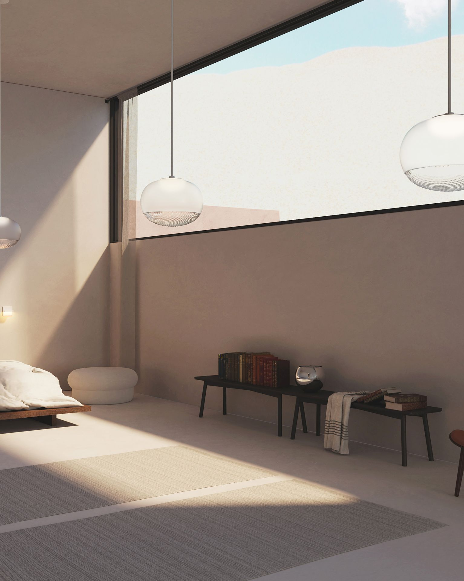 Print pendants clear/frosted glass globe in a bedroom
