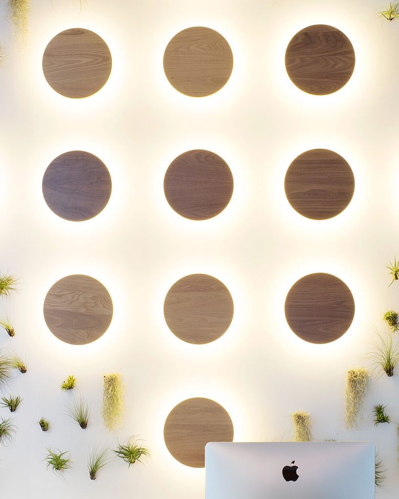 FitBit HQ — San Francisco CA. Radient Sconce, walnut and white oak finishes