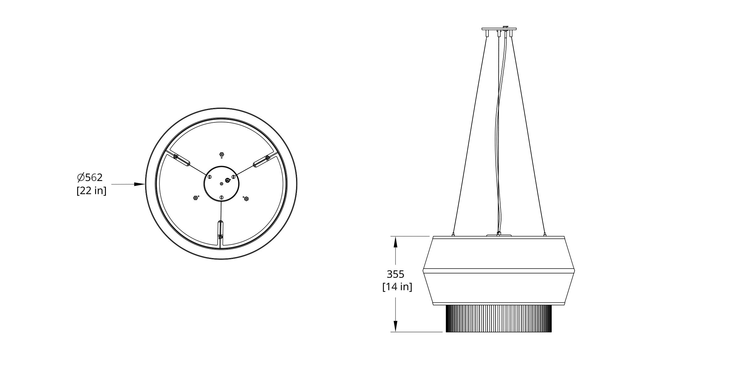 DEL-V Delta Pendant Dimension