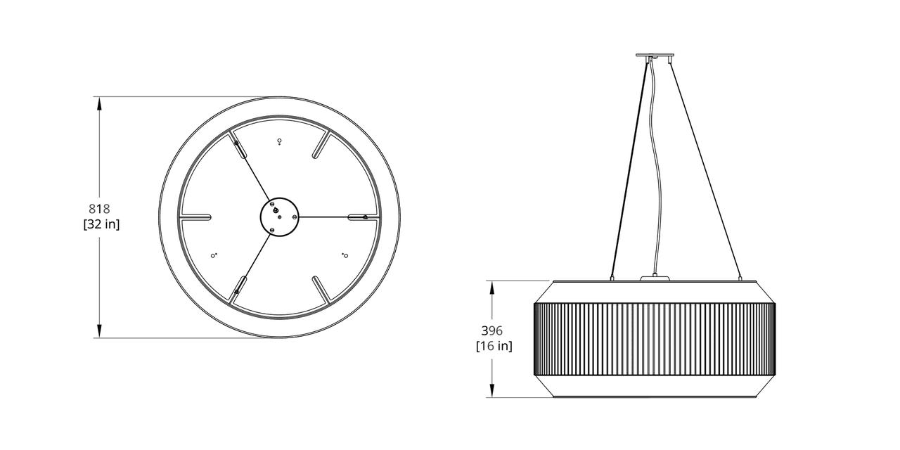 DEL-VII Delta Pendant Dimension