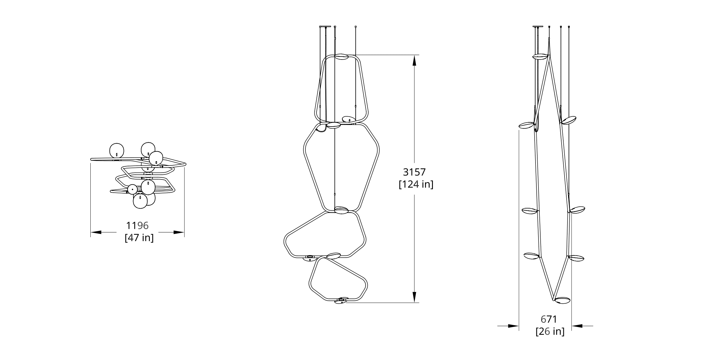 PD-8 Palindrome Chandelier (Vertical) Dimension