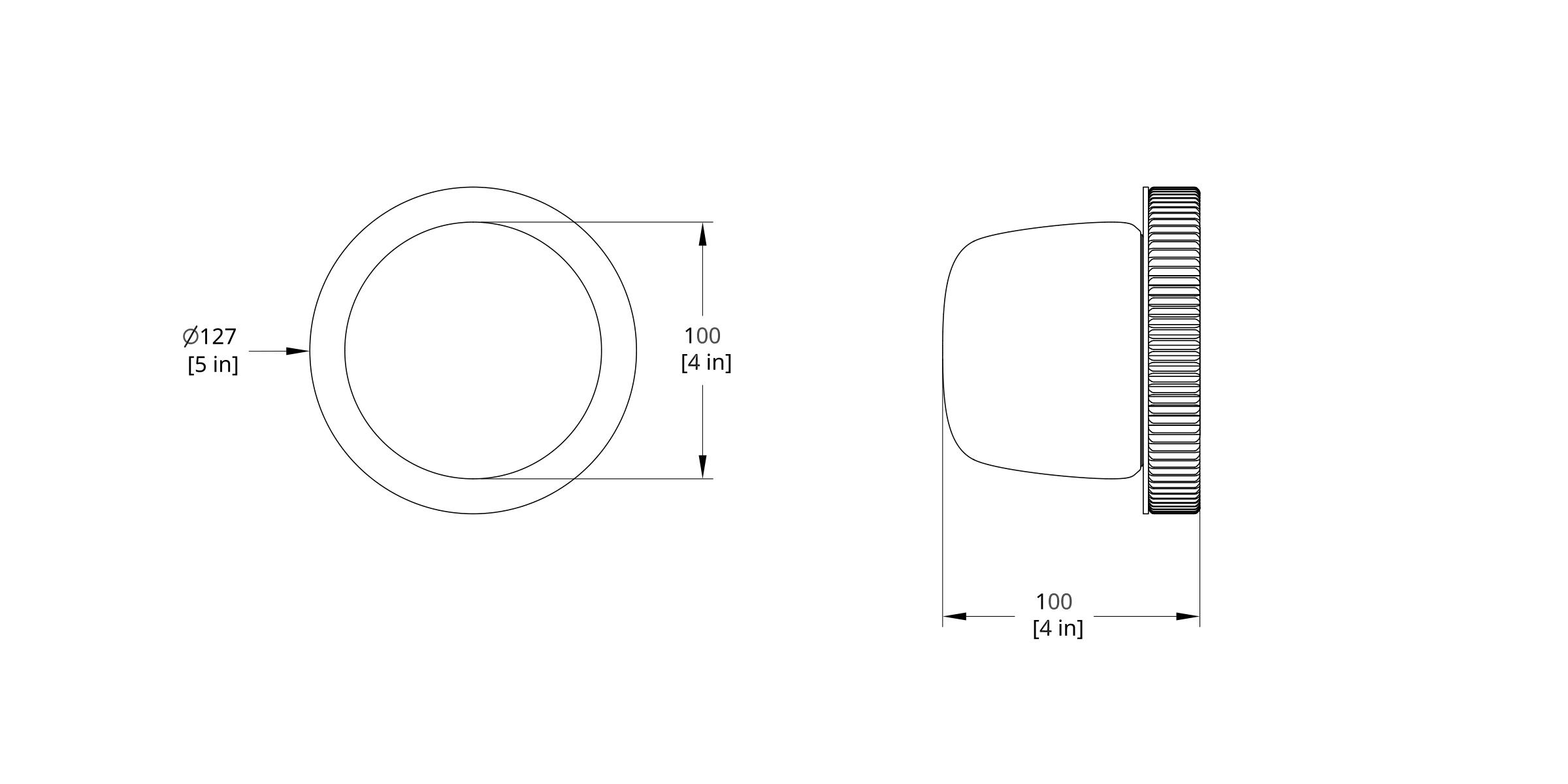 HS-0-A Hoist Sconce Bare Small Diffuser Dimension