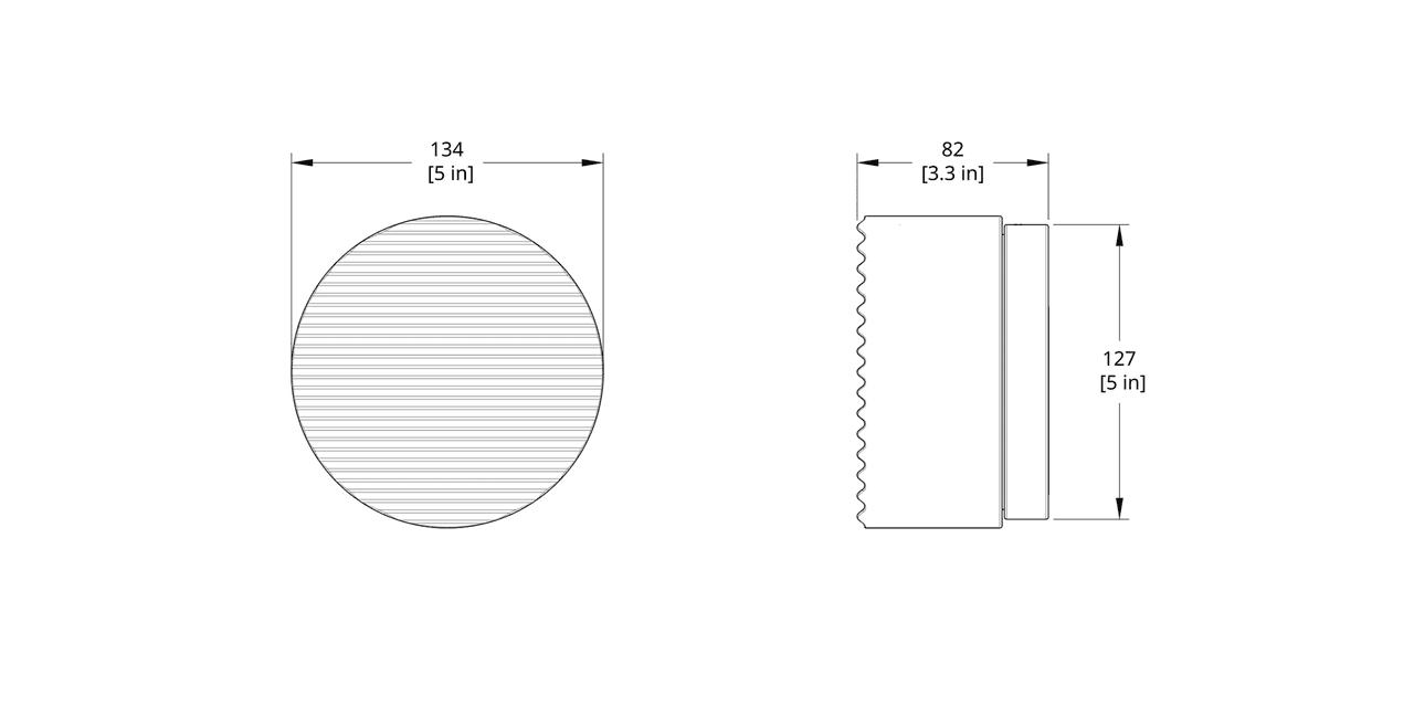CR-WS Crisp Sconce Dimension (Rotate 90 degrees for flush mount version)