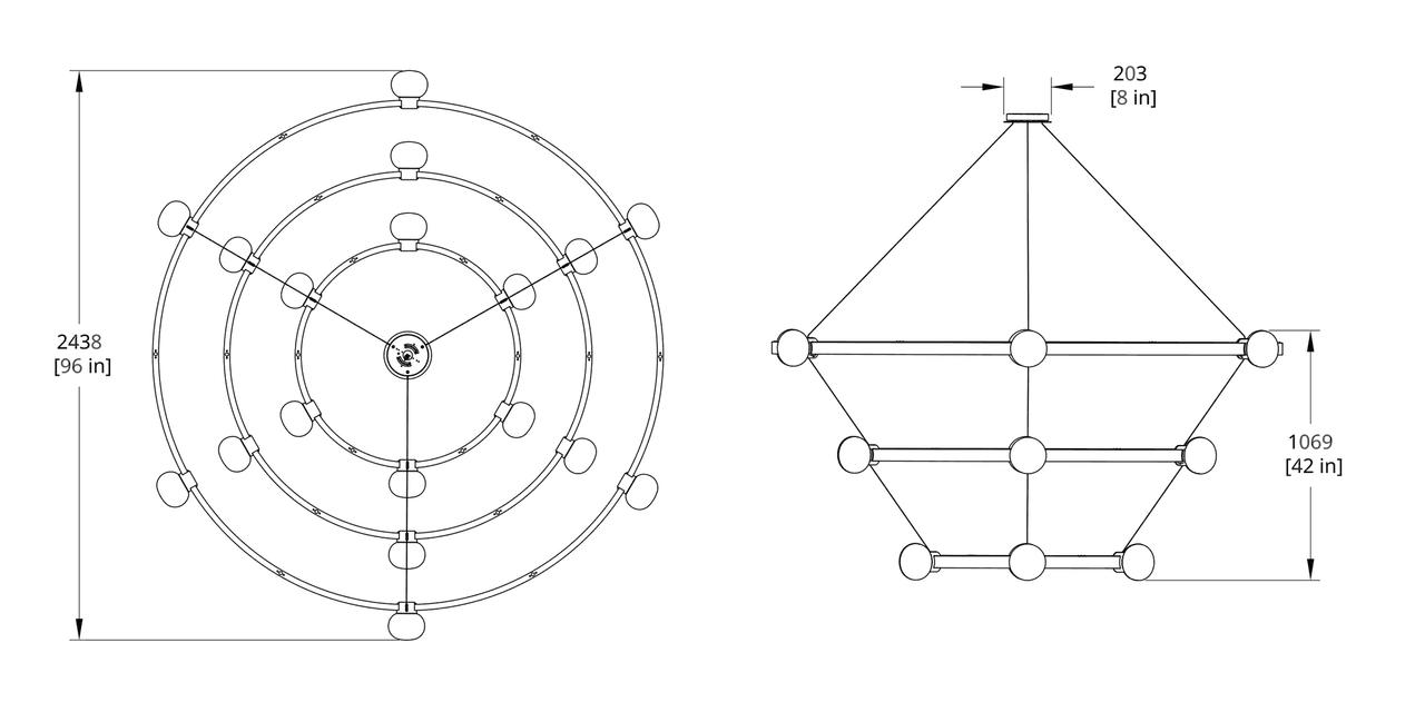 C864-666 Cinema Chandelier Dimension