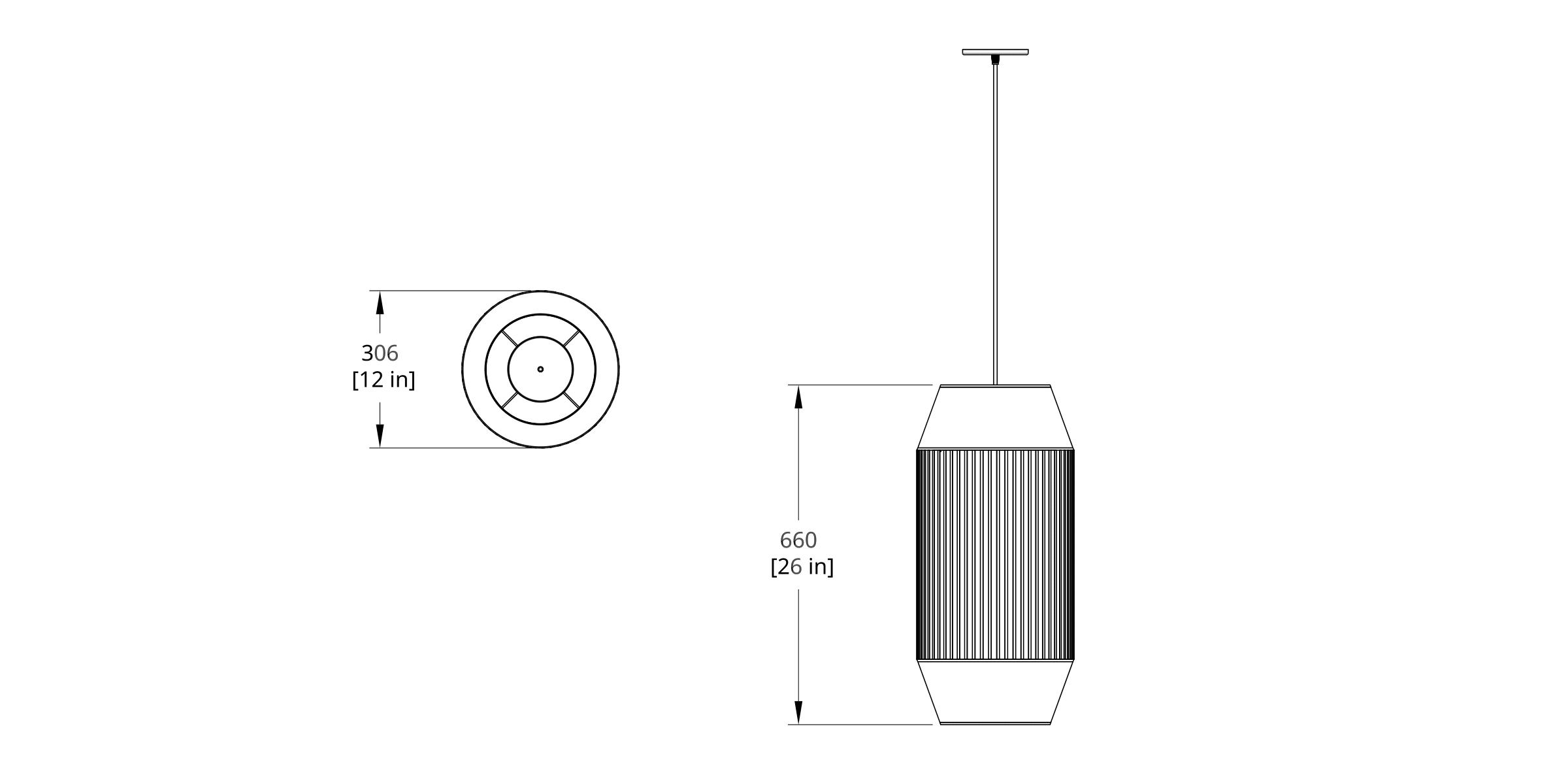 DEL-III Delta Pendant Dimension