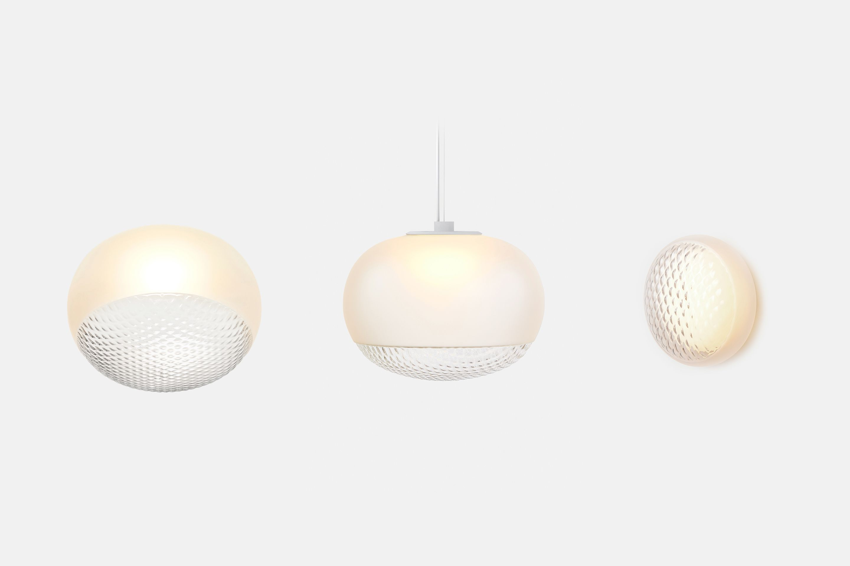 Line up of Print collection, (from left) flush mount, pendant, sconce