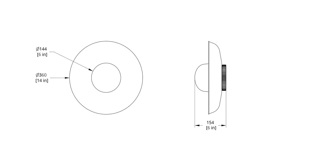 HS-14-B Hoist Sconce Large Diffuser Dimension