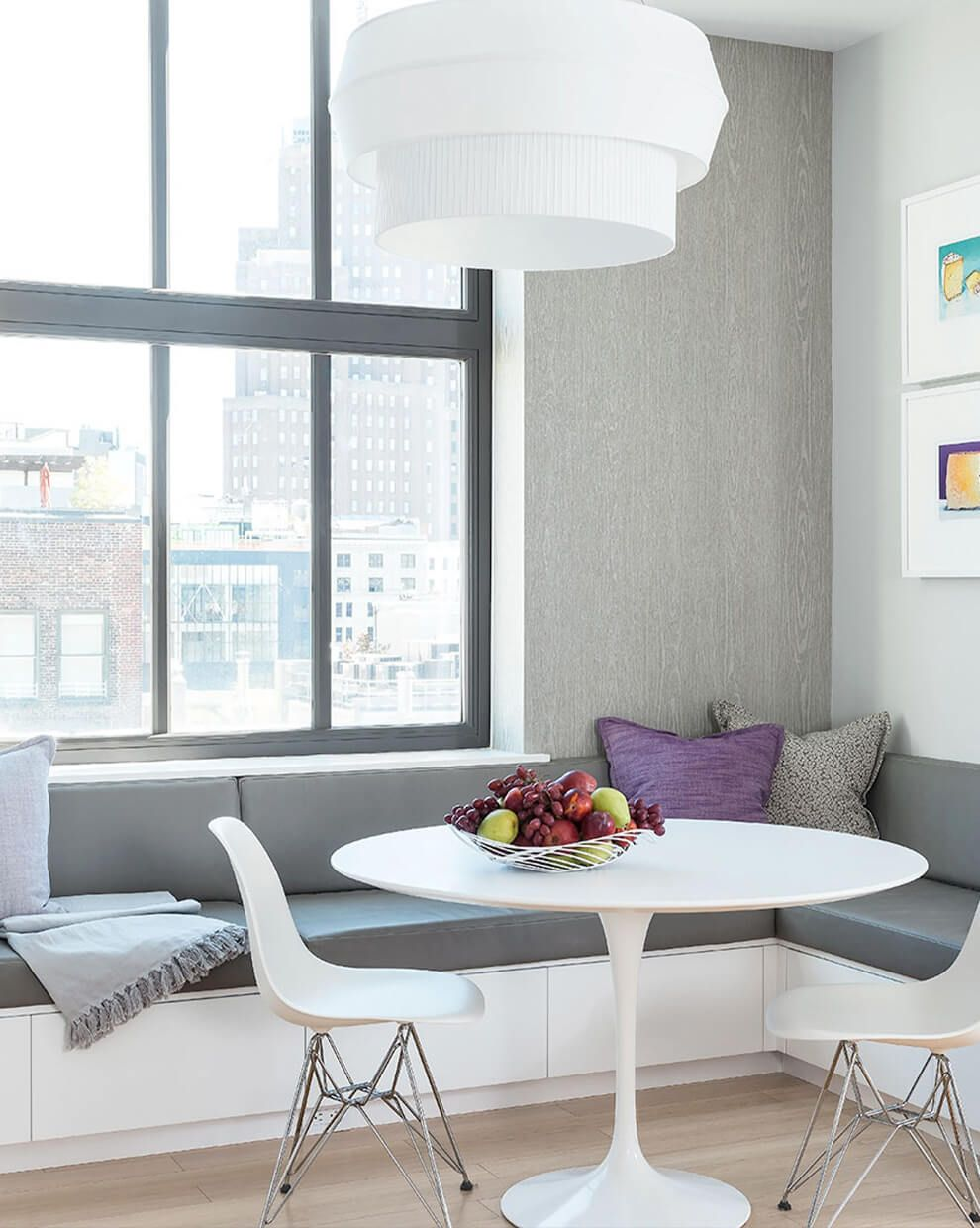 STUDIO NY Loft — New York, NY. Delta IV pendant, white pleated fabric