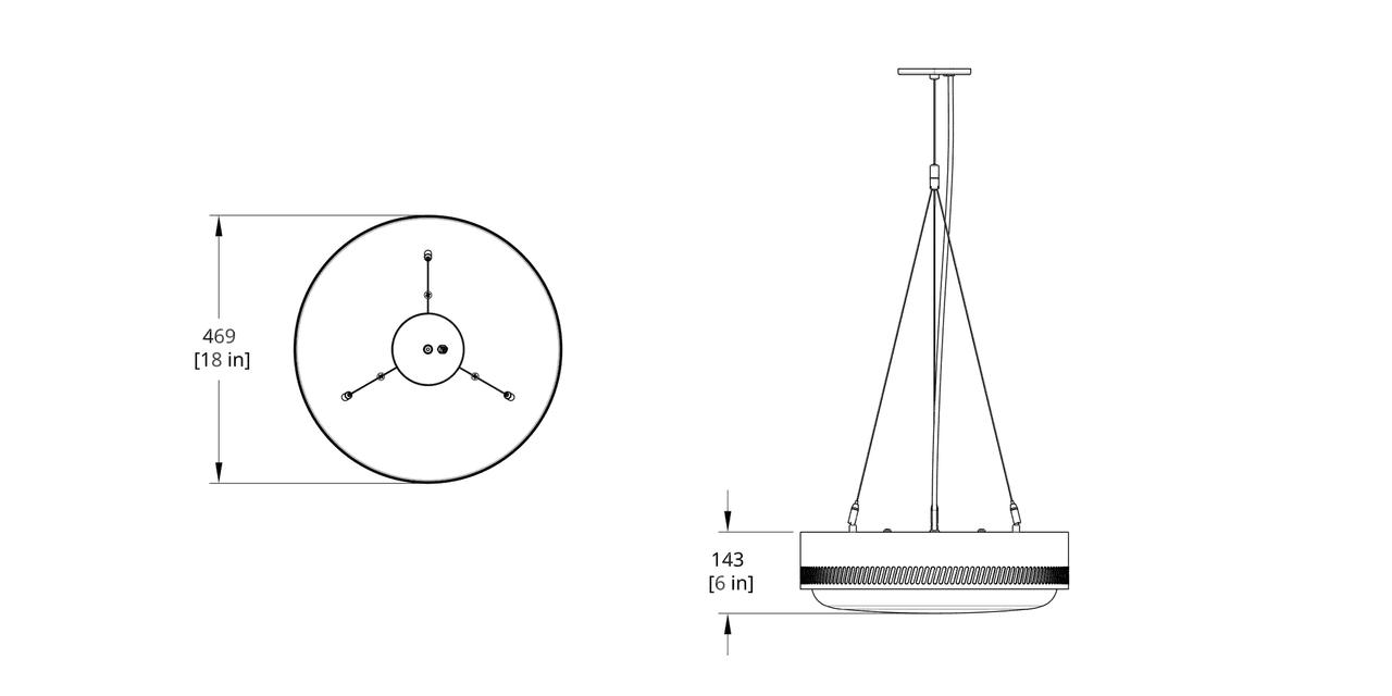 CTP-18-DI Centro Pendant Direct Indirect Dimension