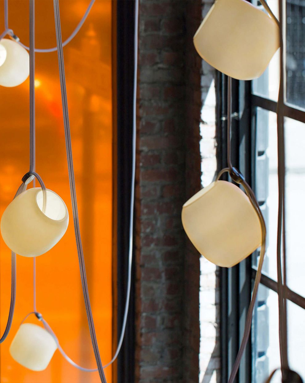 Vitis Launch — San Francisco, CA    Vitis 7 chandelier with ivory globes, white woven cord