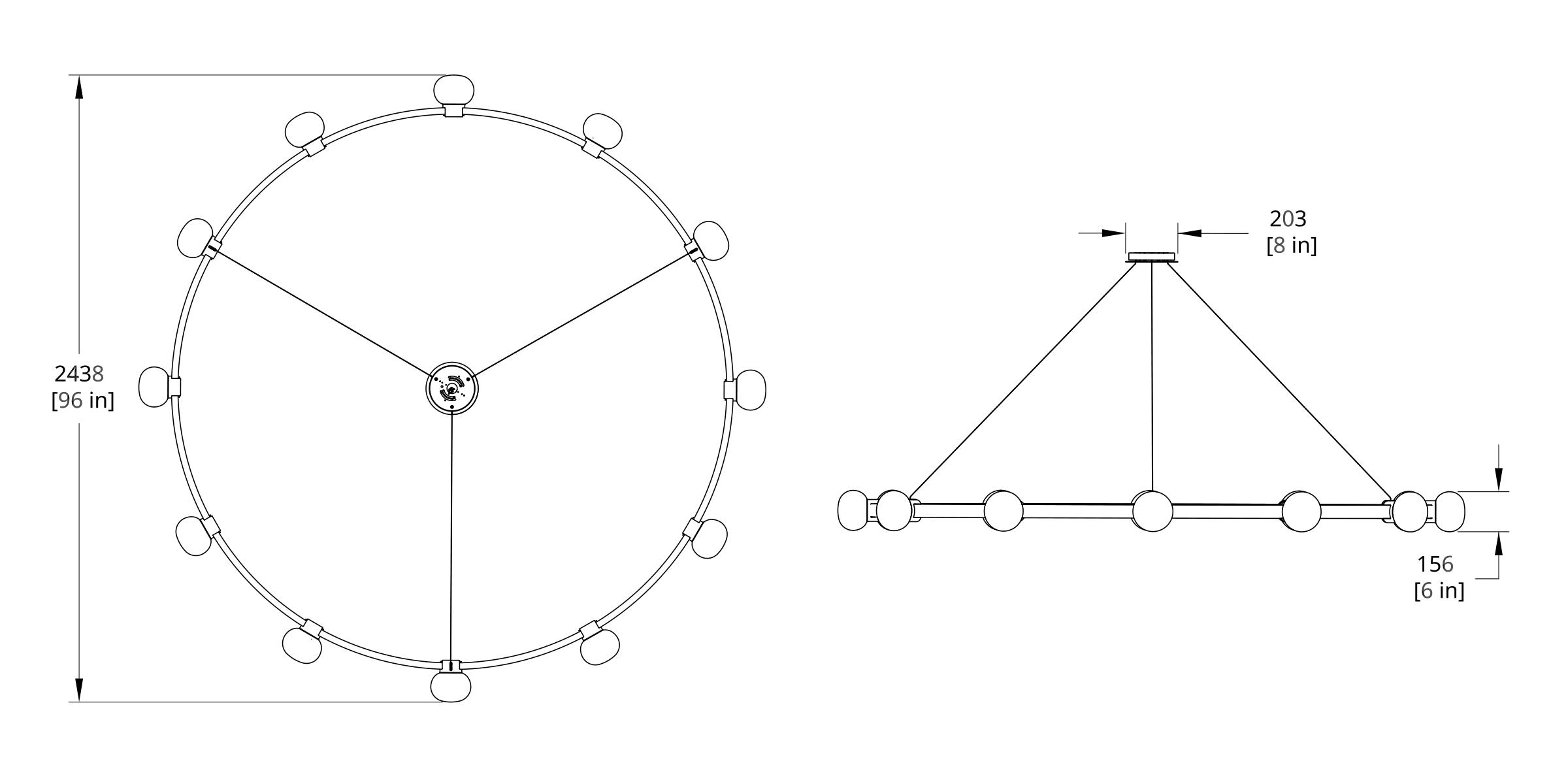 C8-12 Cinema Chandelier Dimension