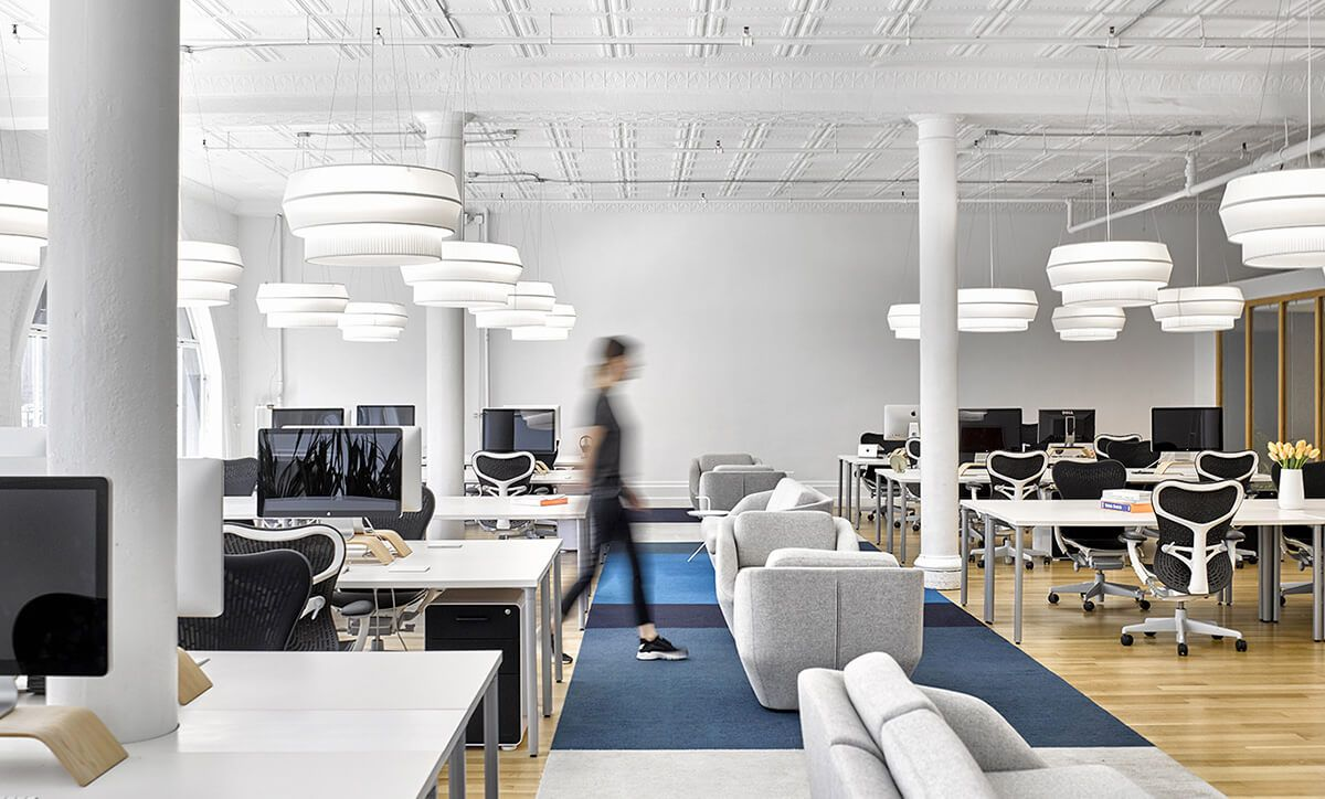 Karma HQ — New York, NY. Delta IV pendant, white pleated fabric