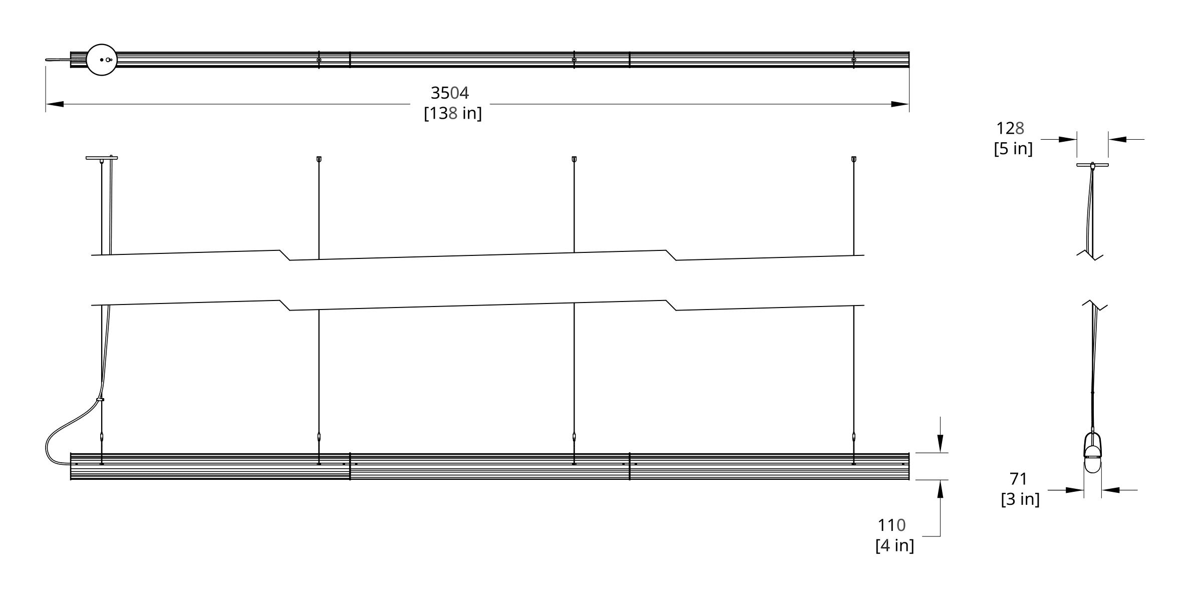 QP-132 Queue Pendant Dimension