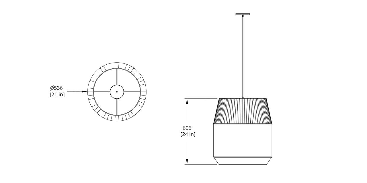 DEL-II Delta Pendant Dimension