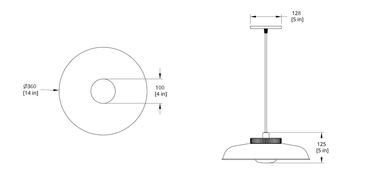HP-14-A Hoist Pendant Small Diffuser Dimension