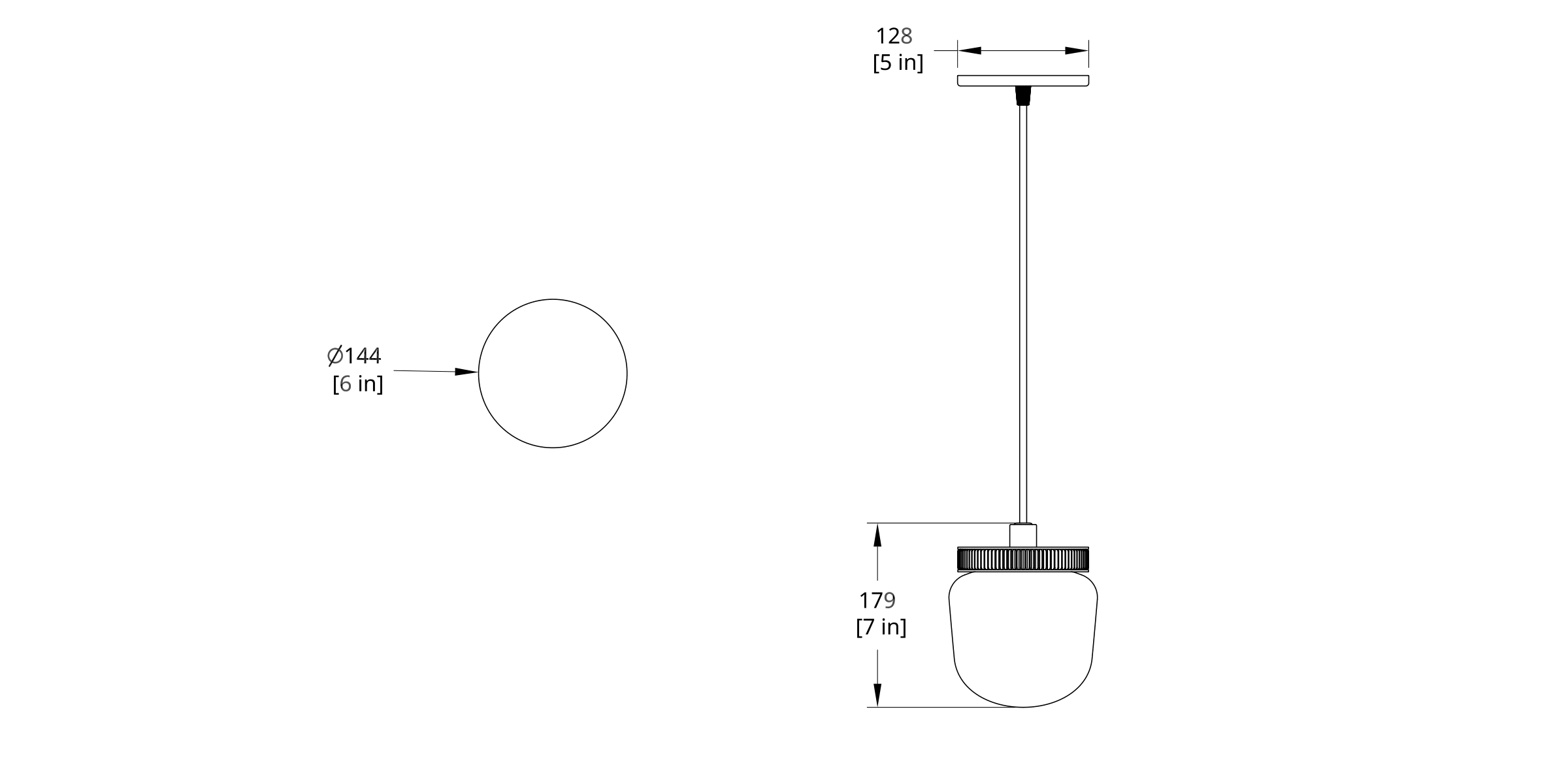 HP-0-B Hoist Pendant Bare Large Diffuser Dimension