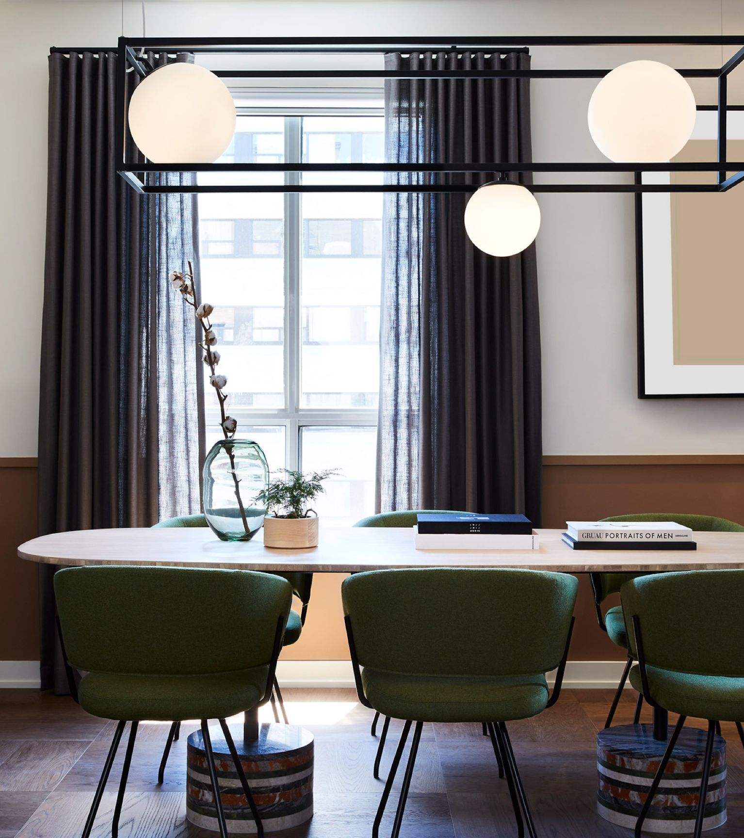 Modern hanging geometric chandelier in kitchen of Kimpton Hotel, Toronto, Canada