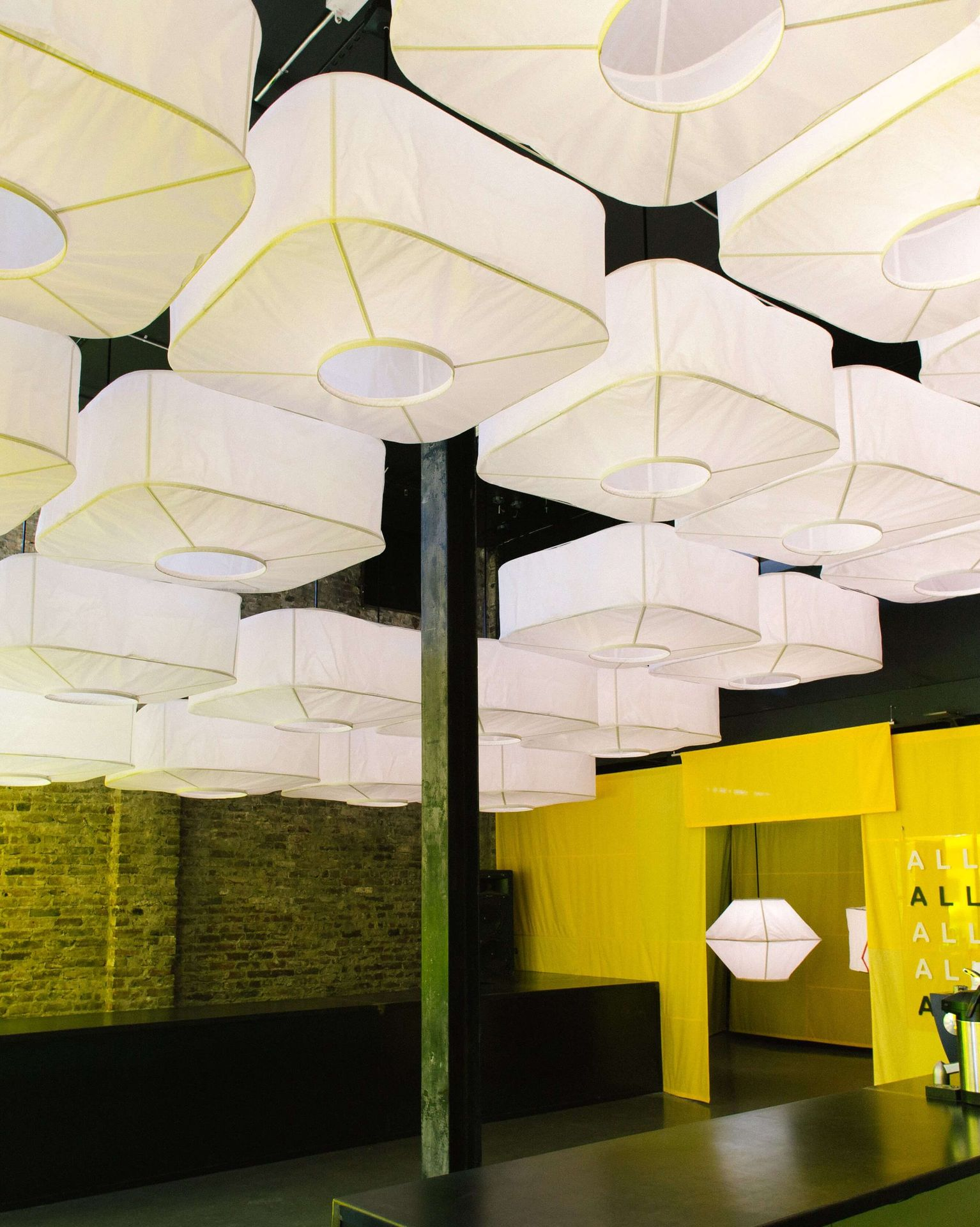 AllSew, a modular, scalable pendant inspired by the luminosity of lanterns, and the lightweight, collapsible efficiency of kites.