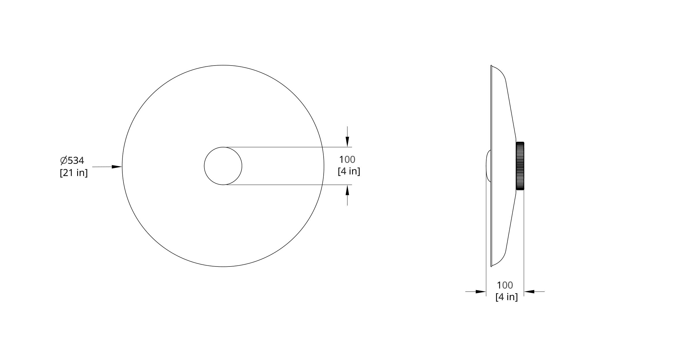 HS-21-A Hoist Sconce Small Diffuser Dimension