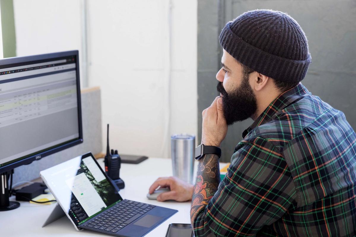 Flexible work desk in our Brooklyn Studio