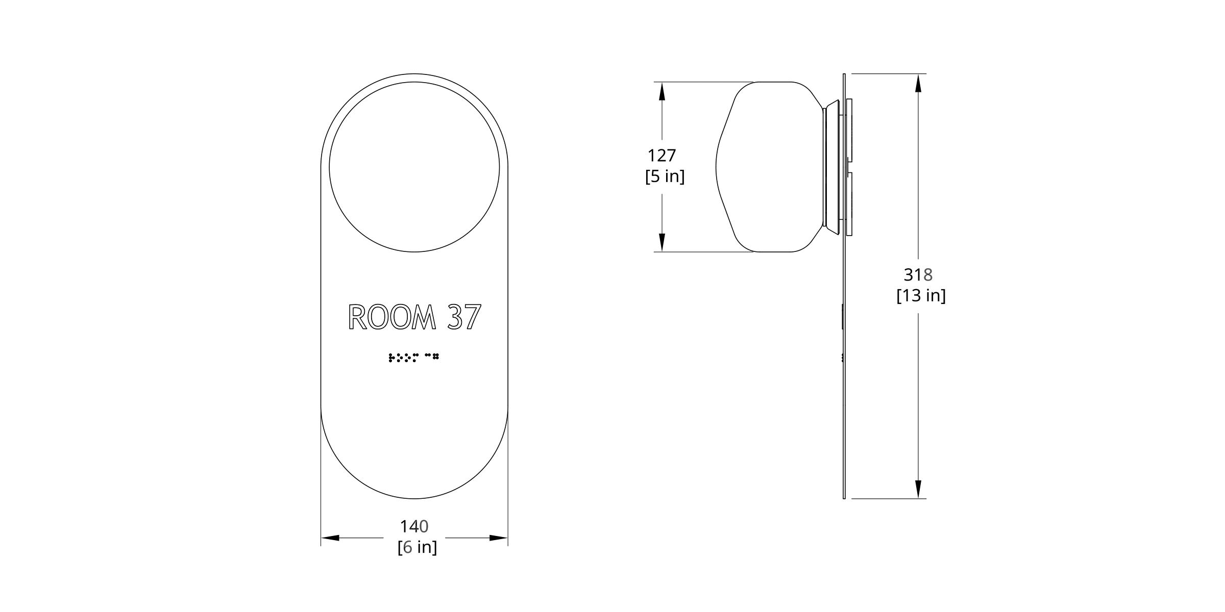PAS-1W Pastille Wayfind Sconce Dimension