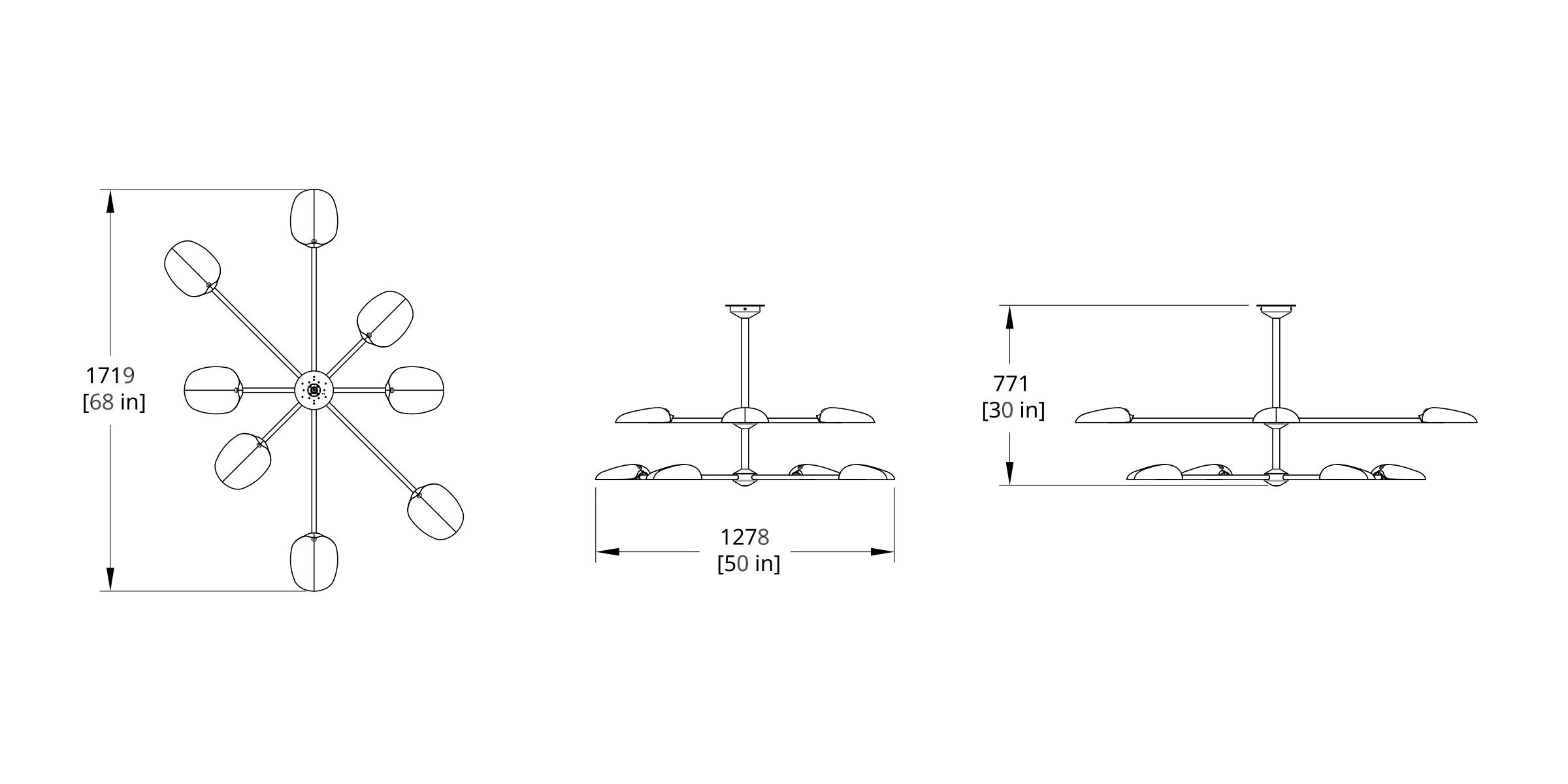 PT-8A2 Pilot Chandelier Two Tier Dimension