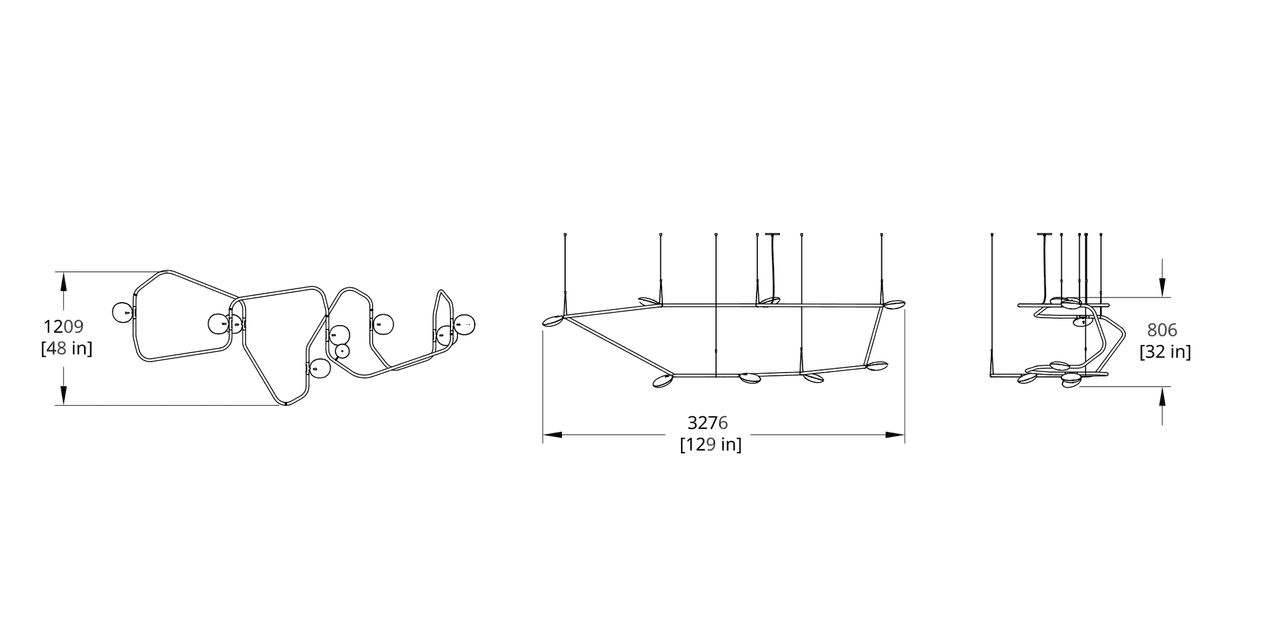 PD-8 Palindrome Chandelier (Flat) Dimension