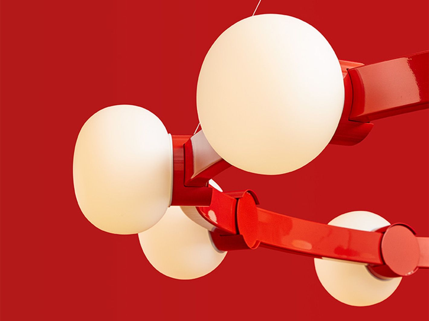 Cinema chandelier 12 globes in vermilion powder coated finish