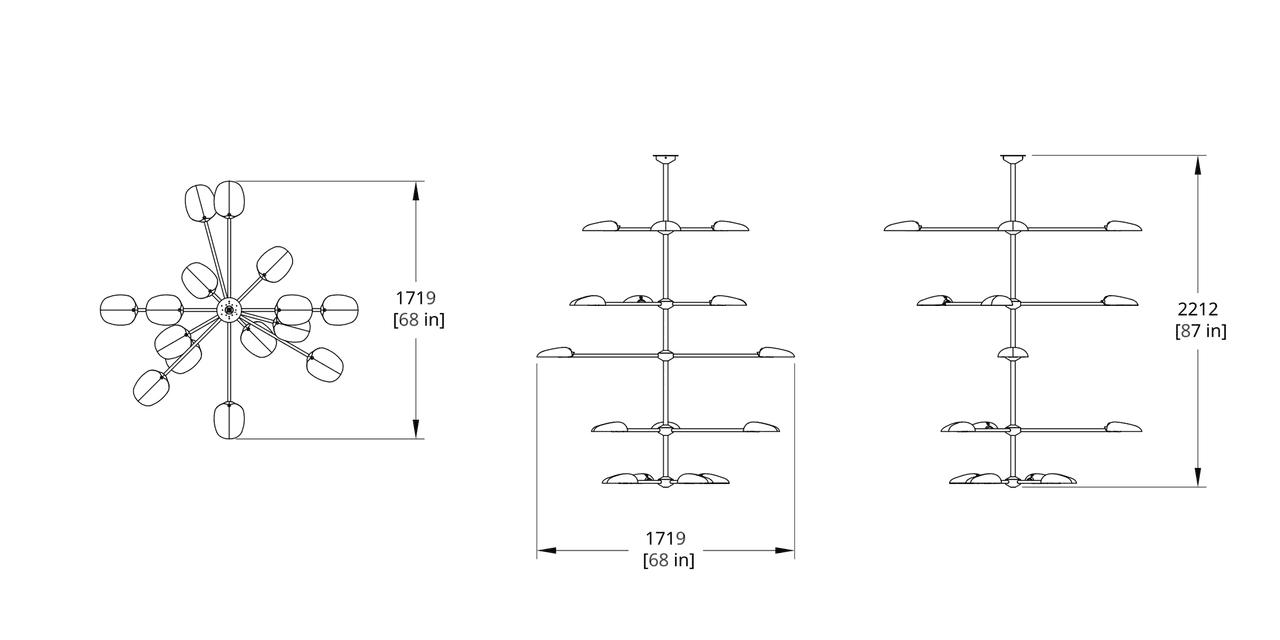 PT-16A5 Pilot Chandelier Five Tier Dimension (Feature)