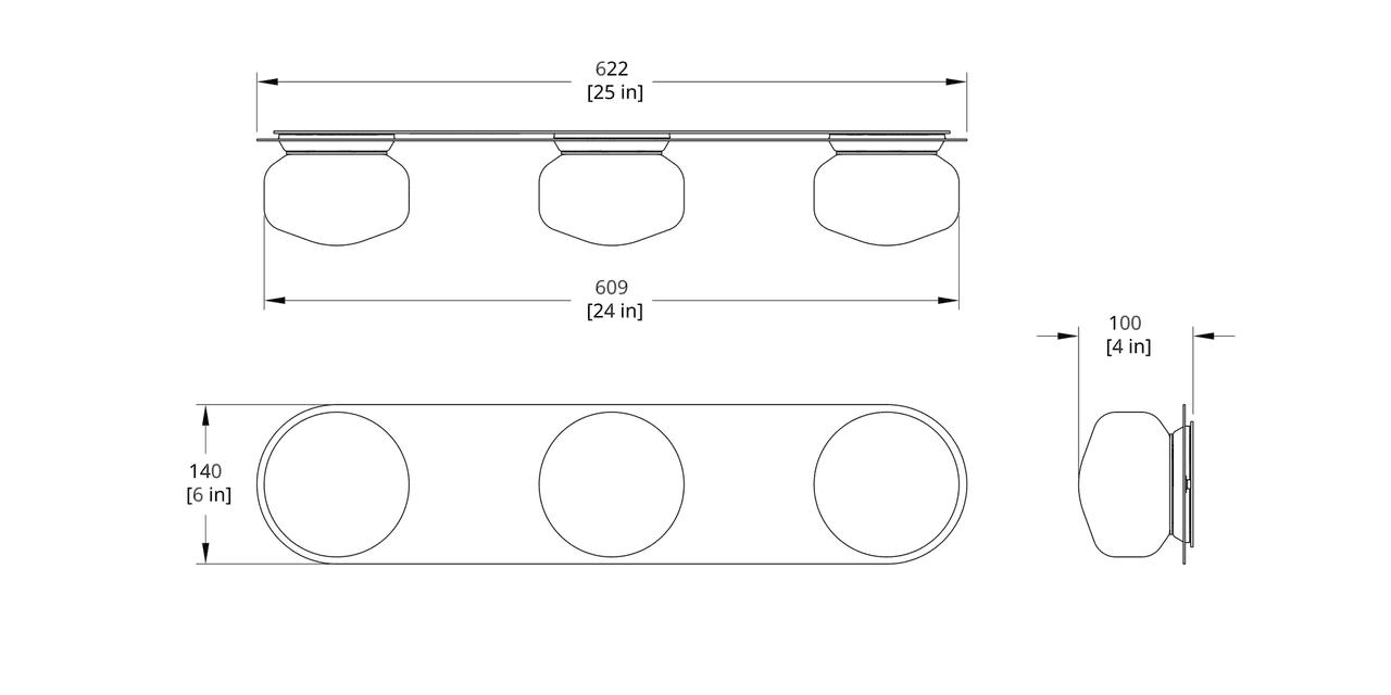 PAS-3V Pastille Vanity Sconce Dimension