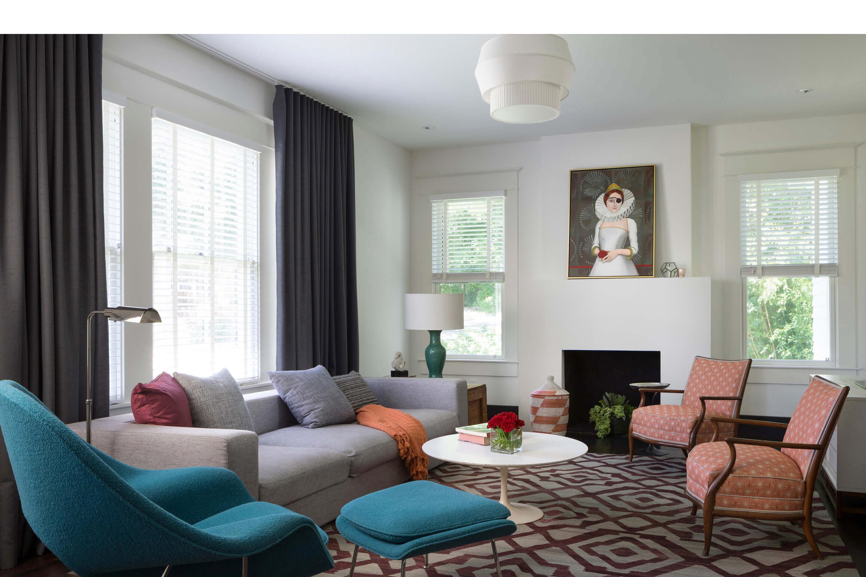 Hemphill Park Residence — Austin, TX. Delta V pendant, white pleated fabric