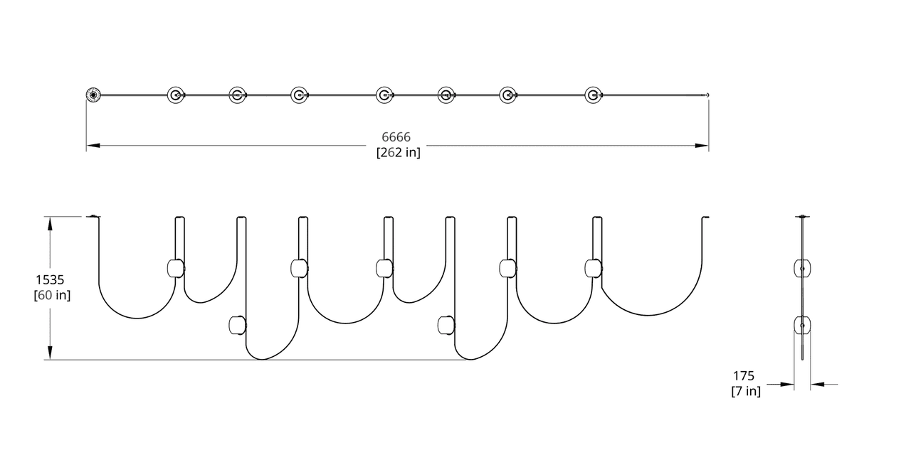 VS-7 Vitis Chandelier (Linear) Dimension